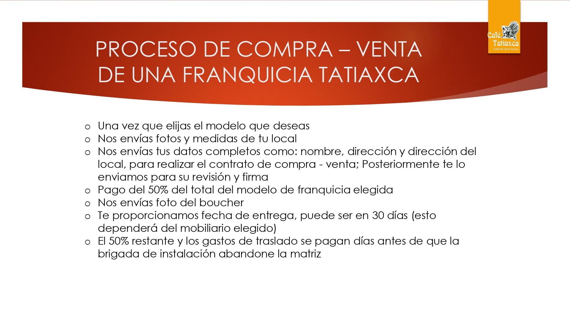PROCESO DE COMPRA FRANQUICIA TATIAXCA